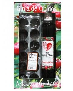 Licor de Ginja d'Óbidos MARIQUINHAS  50 cl com 12 Copos de Chocolate
